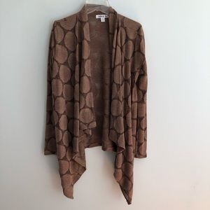 Sweaters - Brown drape cardigan with polka dot detail